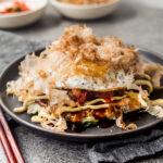 Japanese Okonomiyaki with Kimchi + Fried Egg